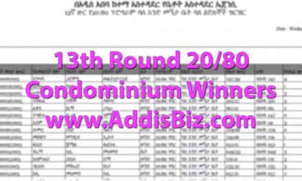 List of Names for 13th Round 20/80 Condominium Winners in Addis Ababa Ethiopia – Studio, One, Two and Three Bedroom Apartments [PDF]