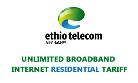 Ethio-Telecom New Unlimited Residential Broadband Internet Tariff
