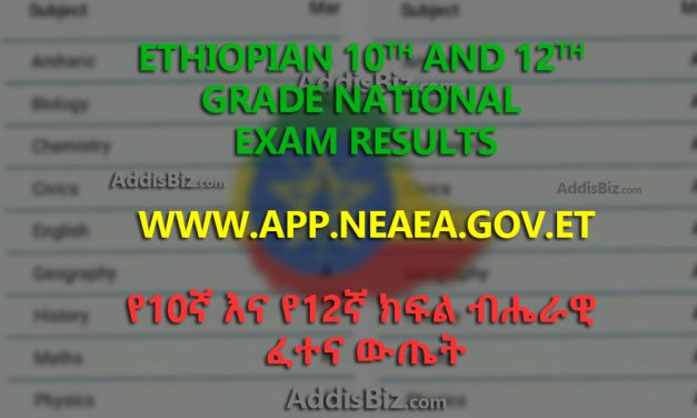 NEAEA.gov.et Grade 10 Matric Exam Results for 2019 G.C [2011/2012 E.C] Released and available at www.app.neaea.gov.et