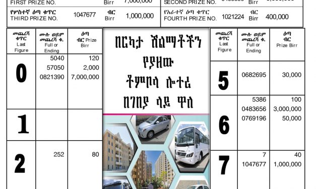 Liyu Lottery (5 million) for May 24, 2021 (ግንቦት 16 ፤ 2013) Winning Numbers