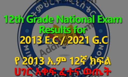 12th Grade Ethiopian University Entrance National Exam Results for 2021 G.C / 2013 E.C to be available starting from March 30, 2021