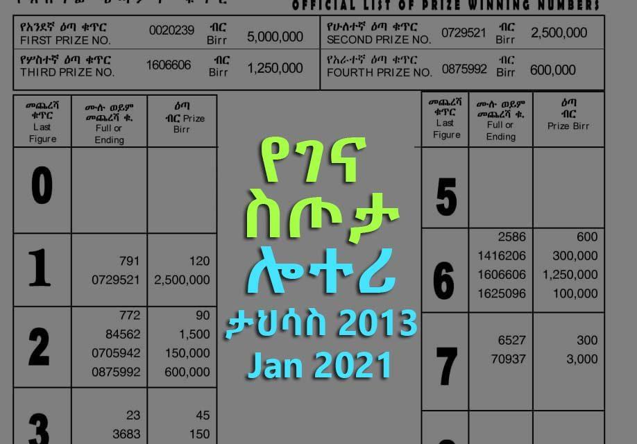 Gena Lottery (5 million) for Jan 2021 (Tahisas 2013) Winning Numbers